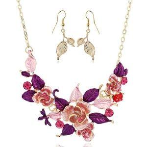 Crystal Bib Choker Chunky Necklace Earring Set